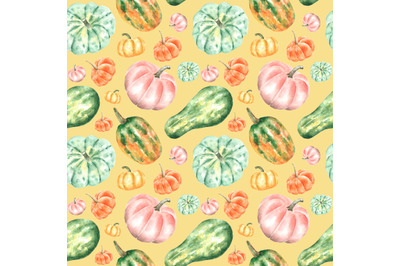 Thanksgiving watercolor seamless pattern. Pumpkins, zucchini, harvest