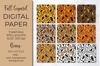 Fall leopard print pattern. Autumn oak leaves digital paper