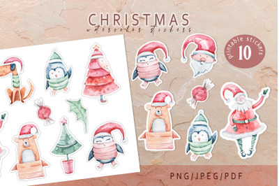 Christmas Santa Claus printable stickers