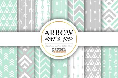 Arrow Mint & Grey Digital Paper - S0505