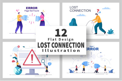 12 Lost Wireless Connection Vector Illustration