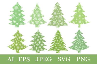 Christmas tree bundle. Christmas tree SVG. Christmas clipart