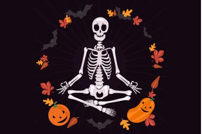 Halloween skeleton meditating