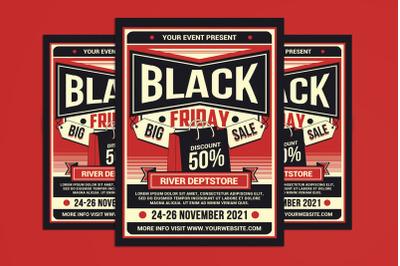 Black Friday Sale Flyer Retro Style