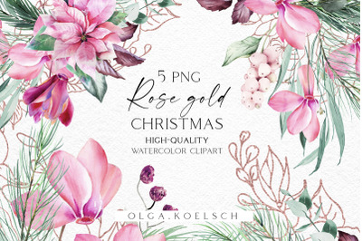 Watercolor pink poinsettia bouquet clipart, Rose gold Winter greenery