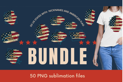 50 US States with Nicknames and American Flag Sublimation