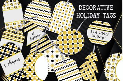 Decorative festive tags.