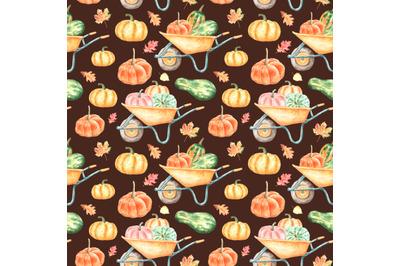Pumpkin harvest watercolor seamless pattern. Farm, Thanksgiving, Fall