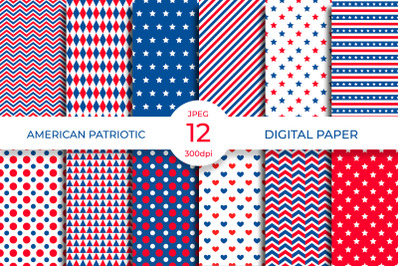 American Patriotic Digital Paper. Independence Day Seamless Pattern