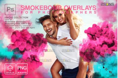 Smoke bomb overlay & Gender reveal smoke overlay, Photoshop overlay