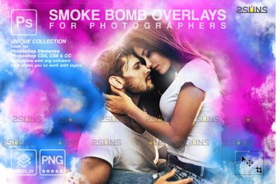 Gender reveal smoke overlay & Pink smoke bomb Photoshop overlay