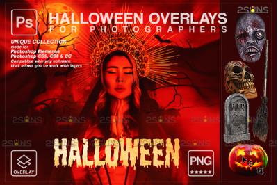 Halloween overlay & Photoshop overlay: Skull png, Halloween pumpkin