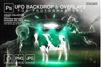 Halloween backdrop, UFO overlays photoshop, Cow png, Alien photo overl