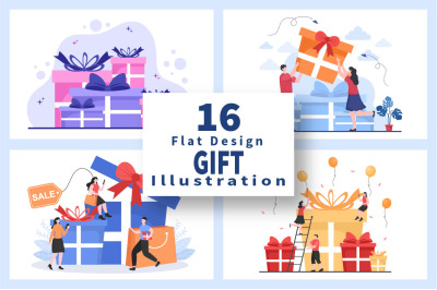 16 Colorful Wrapped Gift Box Online Delivery Illustration
