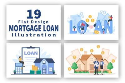 19 Mortgage Loan Debt Instruments Vector illustration