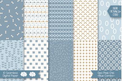 Pixie Chic Blue Digital Paper | Seamless Geometric Background Pattern