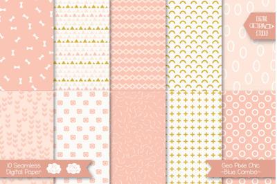 Pixie Chic Pink Digital Paper | Seamless Geometric Background Pattern