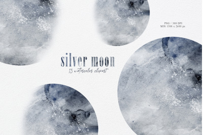 Watercolor moon phase clipart. Moon phases-13 png files