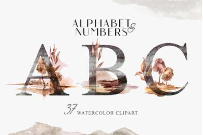 Watercolor floral Alphabet sublimation / clipart- 37 png