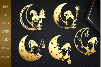 Gnome on the moon. SVG cut