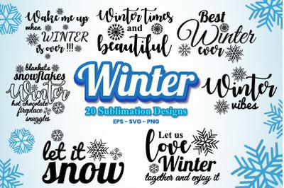 Winter Sublimation Design Bundle Vol.1 | 20 Sublimation Designs