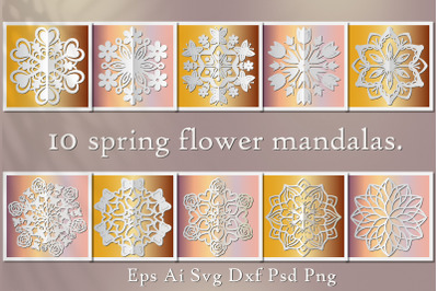 10 Spring flower mandalas. SVG for cutting and sublimation