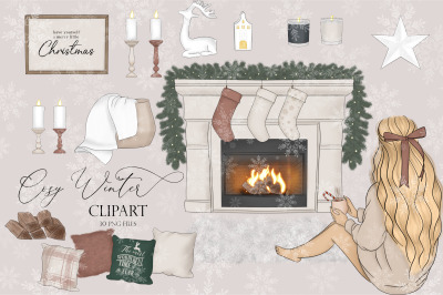 Cosy winter clipart, Christmas planner clipart