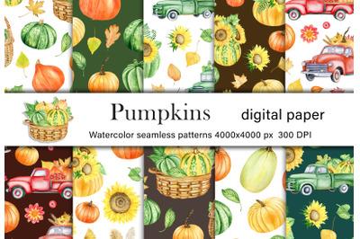 Watercolor pumpkins digital paper pack. Autumn flowers, vegetables