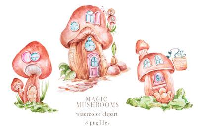 Watercolor cute mushroom houses clipart. Nursery sublimation