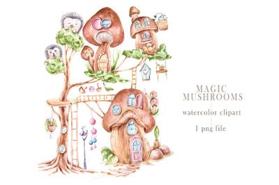 Watercolor magic mushroom house clipart. Cute hedgehogs
