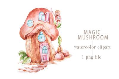 Watercolor magic mushroom house clipart-1 png file