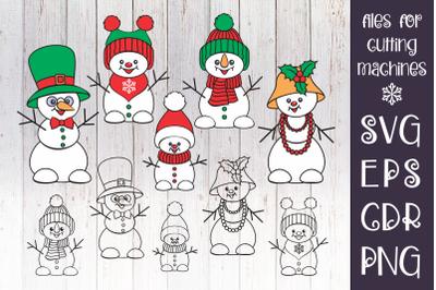 Snowman Family SVG set