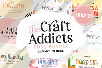 The Craft Addicts Font Bundle (Font Bundles, Cheap Fonts)