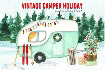 Vintage Camper Holiday Clipart