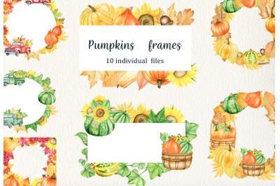 Watercolor Pumpking Frames Clipart set. Hand drawn thanksgiving wreath