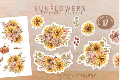 Sunflowers printable stickers- for Cricut and Silhouette