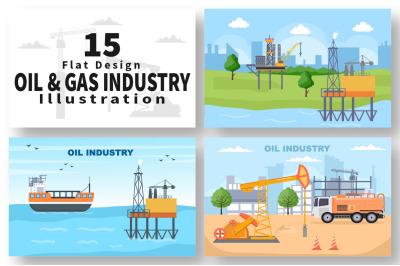 15 Oil Gas Fuel Industry Vector Illustration