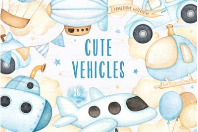 Cute Vehicles Watercolor Clip Arts