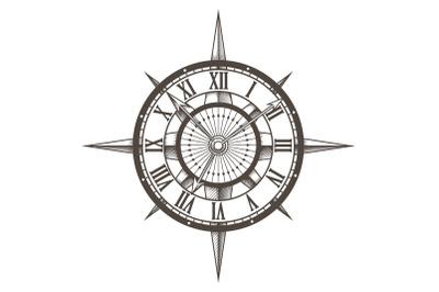 Retro Emblem of Round Compass Clock drawn on white