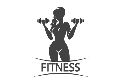 Fitness Emblem or Logo With Silhouette of Training Woman