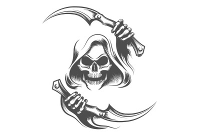 Skull in the Hood with Two Scythes Tattoo