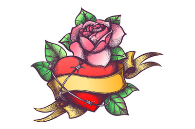 Heart and Rose Flower and Ribbon Engraving Tattoo