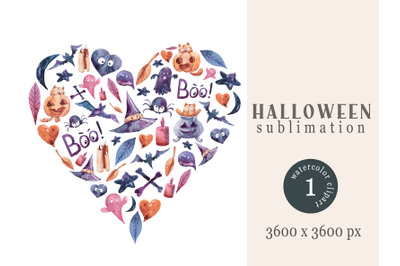 Halloween t-shirt sublimation design in a shape of heart