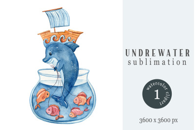 Watercolor nautical dolphin clipart / sublimation- 1 png file