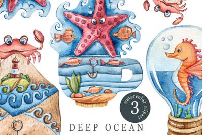 Watercolor sea animals clipart. Nautical sublimation