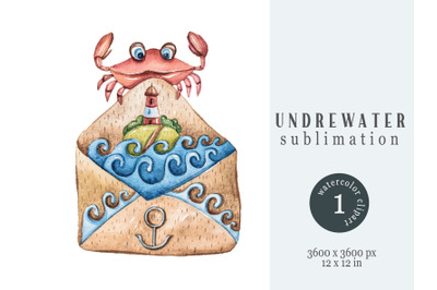 Watercolor underwater sublimation- 1 png file