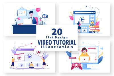 20 Video Tutorials Background Vector Illustration