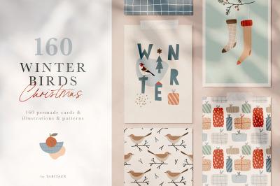 Winter birds Christmas set