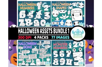 Halloween Assets Digital Stamps Bundle 1