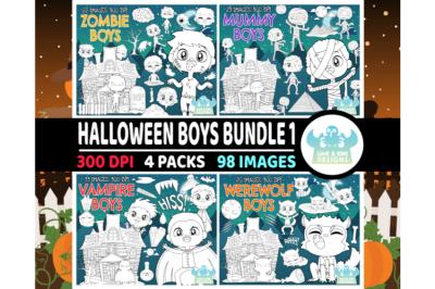 Halloween Boys Digital Stamps Bundle 1